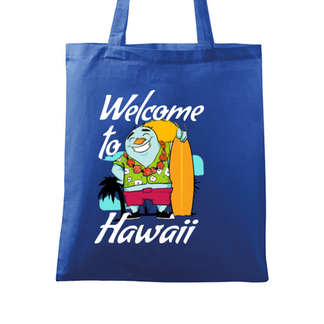 Sacosa din panza Welcome to Hawaii Albastru regal