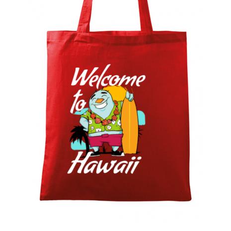 Sacosa din panza Welcome to Hawaii Rosu