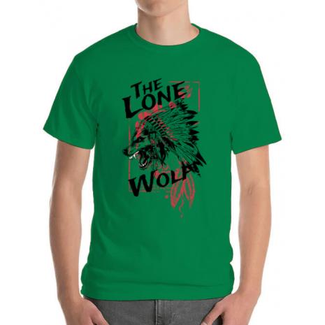 Tricou ADLER barbat The lone wolf Verde mediu