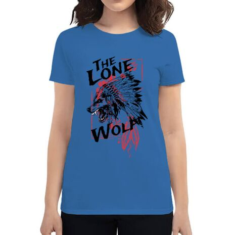 Tricou ADLER dama The lone wolf Albastru azuriu