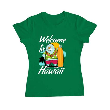 Tricou ADLER dama Welcome to Hawaii Verde mediu