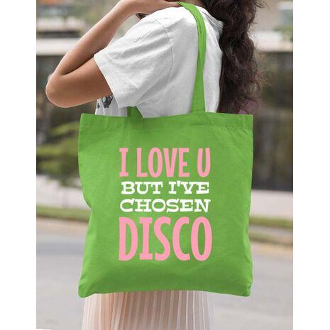 Sacosa din panza I've chosen disco Verde mar