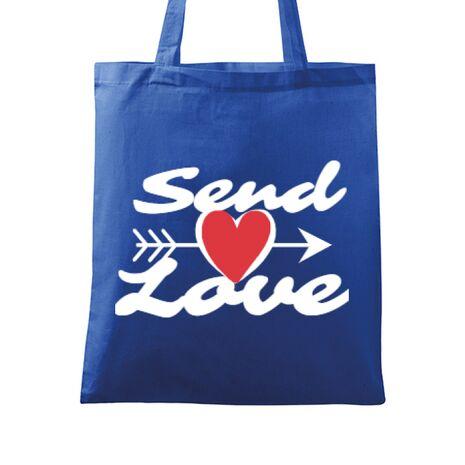 Sacosa din panza Send love Albastru regal