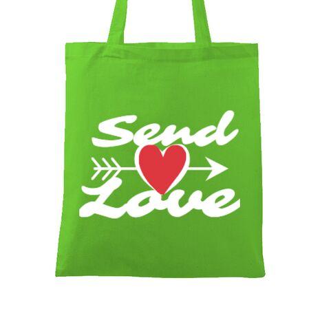 Sacosa din panza Send love Verde mar