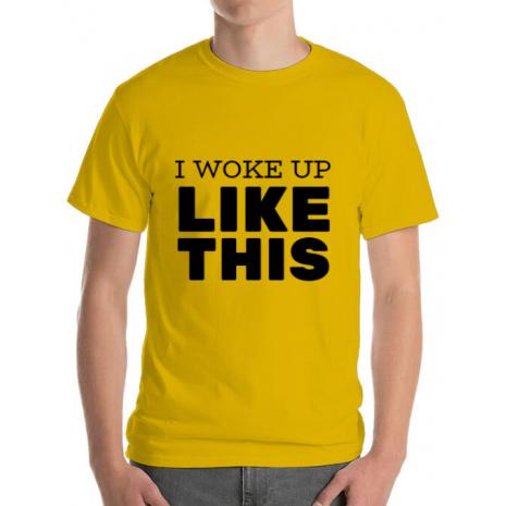 Tricou ADLER barbat I woke up like this Galben