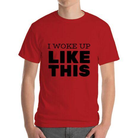 Tricou ADLER barbat I woke up like this Rosu