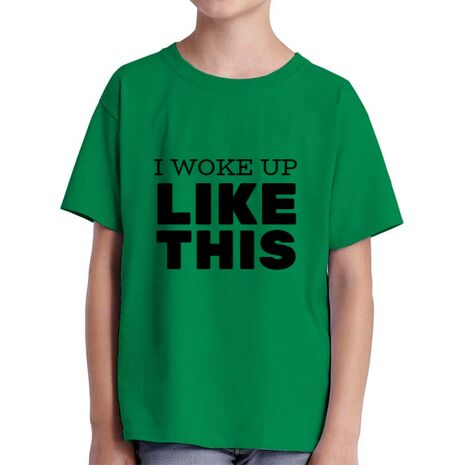 Tricou ADLER copil I woke up like this Verde mediu