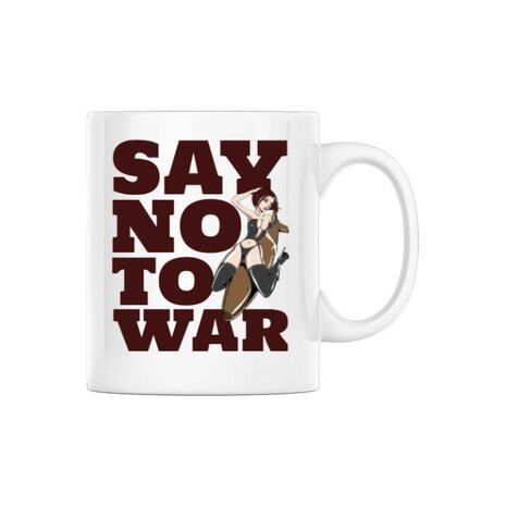 Cana personalizata Say no to war Alb
