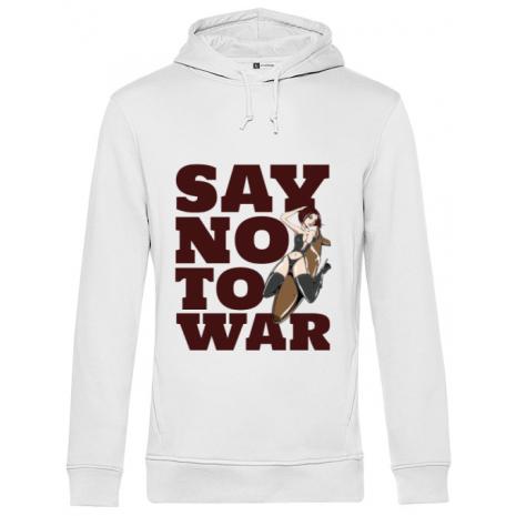 Hoodie barbat cu gluga Say no to war Alb