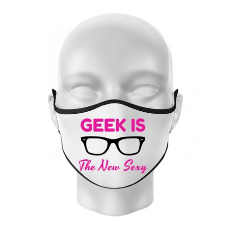 Masca personalizata reutilizabila Geek is the new sexy Alb