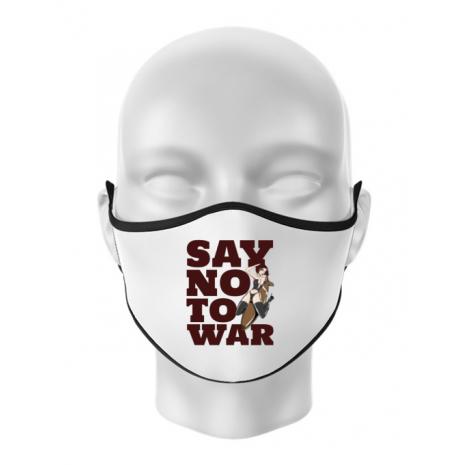 Masca personalizata reutilizabila Say no to war Alb