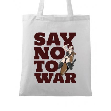 Sacosa din panza Say no to war Alb