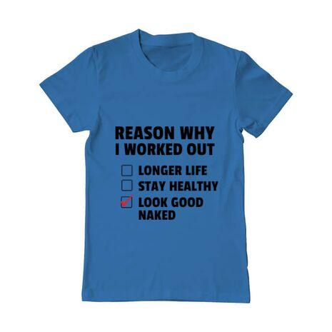 Tricou ADLER barbat Reason why I work out Albastru azuriu