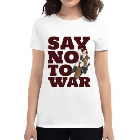 Tricou ADLER dama Say no to war Alb