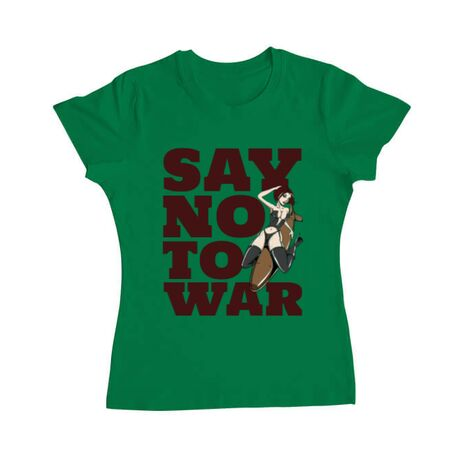 Tricou ADLER dama Say no to war Verde mediu