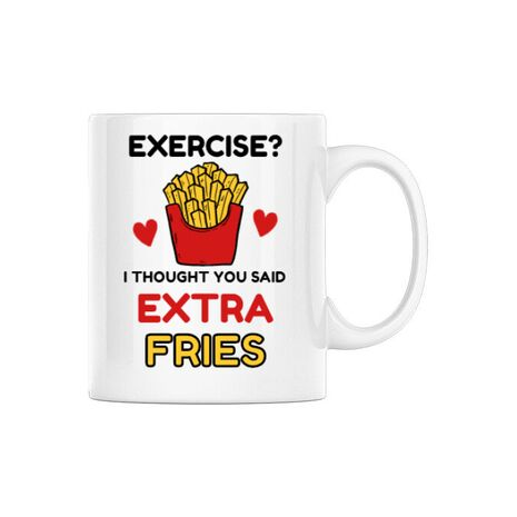 Cana personalizata Exercise extra fries Alb