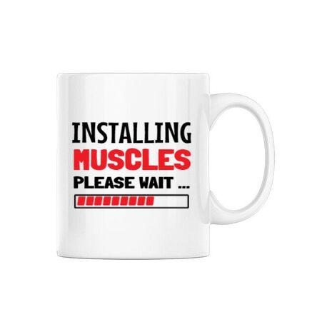 Cana personalizata Installing Muscles Alb