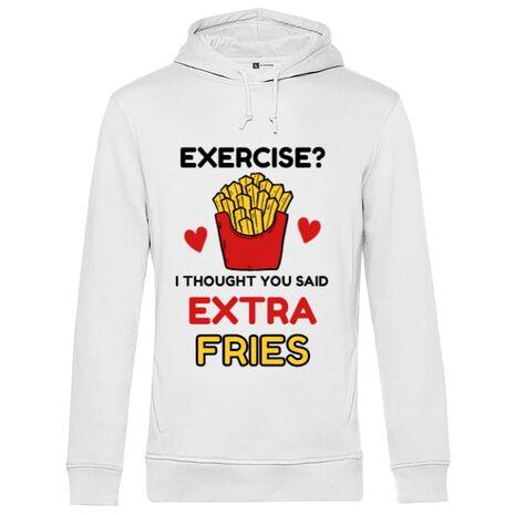Hoodie barbat cu gluga Exercise extra fries Alb