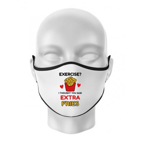Masca personalizata reutilizabila Exercise extra fries Alb