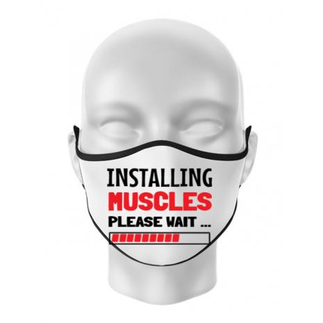 Masca personalizata reutilizabila Installing Muscles Alb