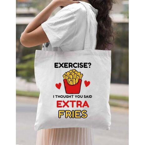 Sacosa din panza Exercise extra fries Alb