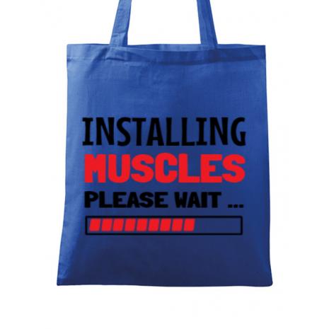 Sacosa din panza Installing Muscles Albastru regal