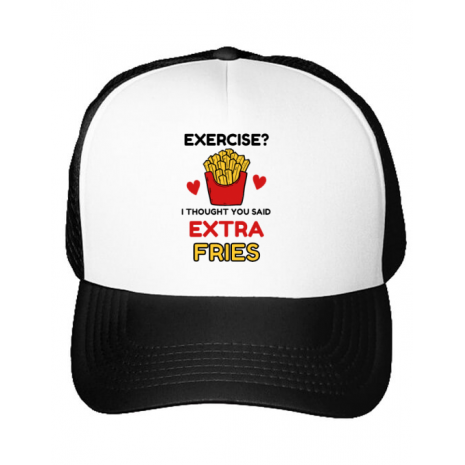 Sapca personalizata Exercise extra fries Alb