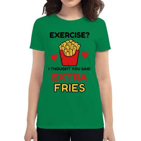 Tricou ADLER dama Exercise extra fries Verde mediu
