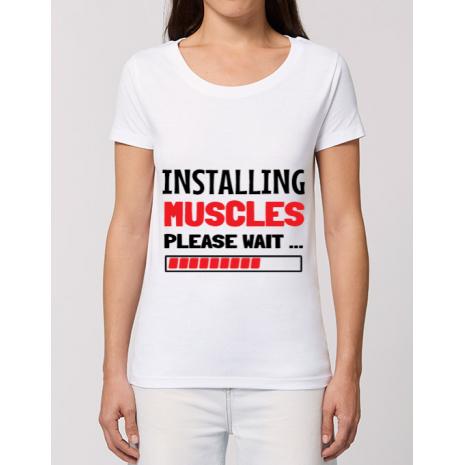 Tricou STANLEY STELLA dama Installing Muscles Alb