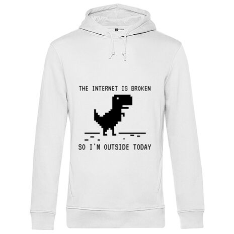 Hoodie barbat cu gluga The internet is broken Alb