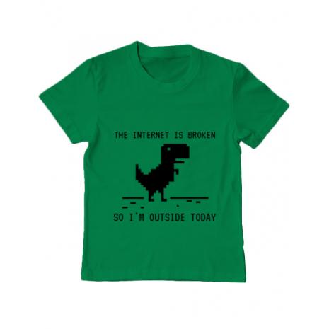 Tricou ADLER copil The internet is broken Verde mediu