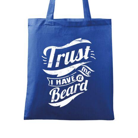 Sacosa din panza Trust me, I have a beard Albastru regal