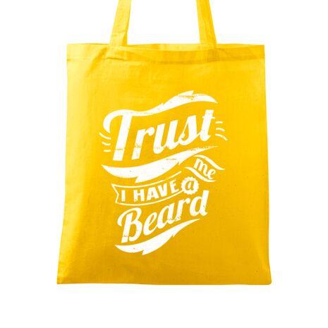 Sacosa din panza Trust me, I have a beard Galben