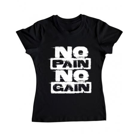Tricou ADLER dama No pain, no gain Negru