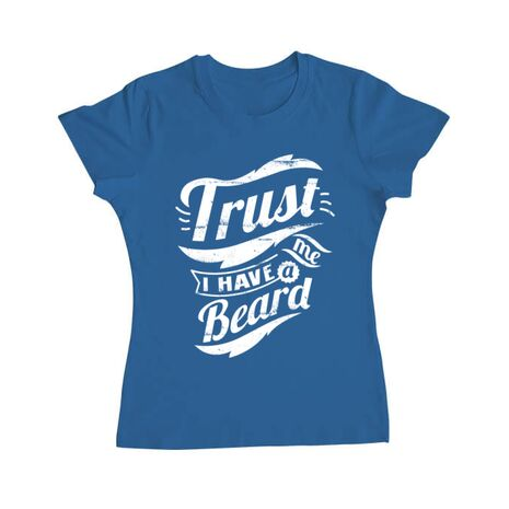Tricou ADLER dama Trust me, I have a beard Albastru azuriu