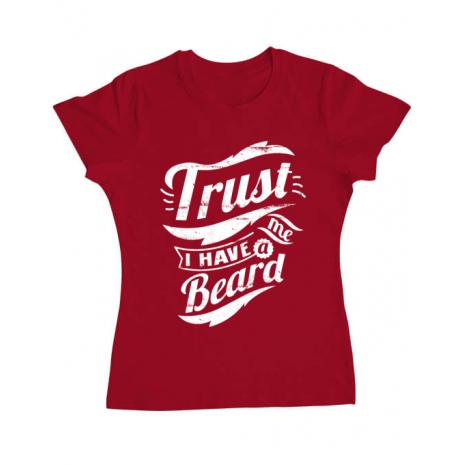 Tricou ADLER dama Trust me, I have a beard Rosu