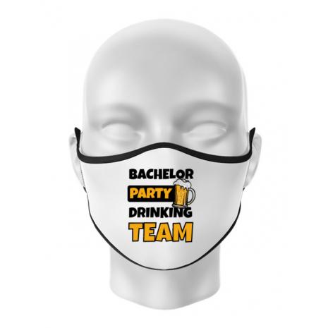 Masca personalizata reutilizabila Bachelor Party Alb