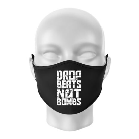 Masca personalizata reutilizabila Drop beats, not bombs Negru