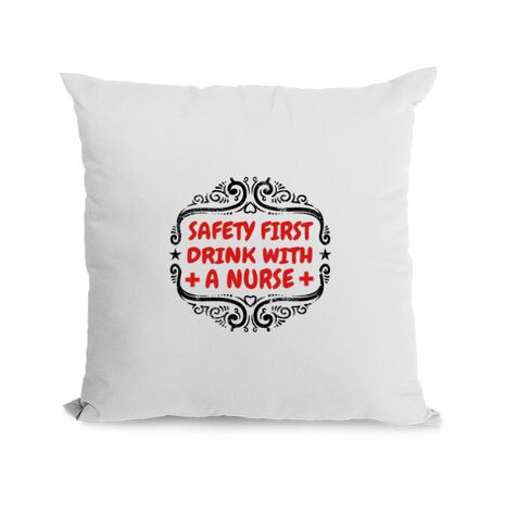 Perna personalizata Safety first drink with a nurse Alb