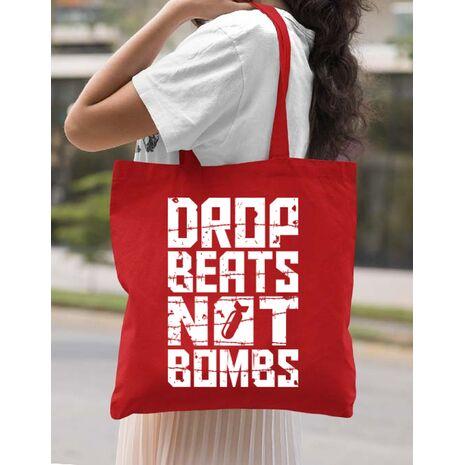 Sacosa din panza Drop beats, not bombs Rosu