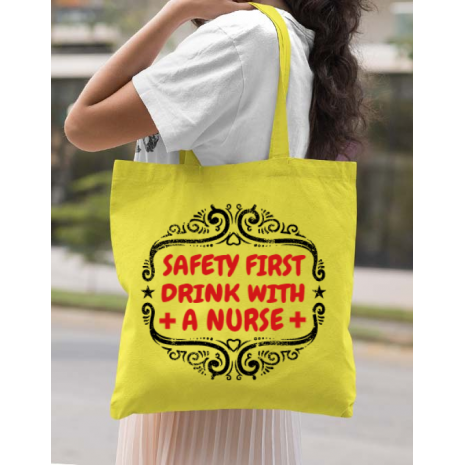Sacosa din panza Safety first drink with a nurse Galben