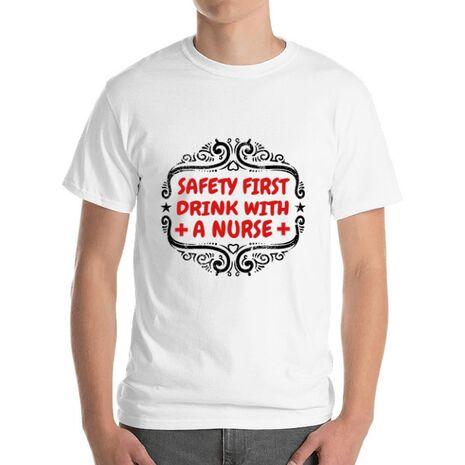 Tricou ADLER barbat Safety first drink with a nurse Alb