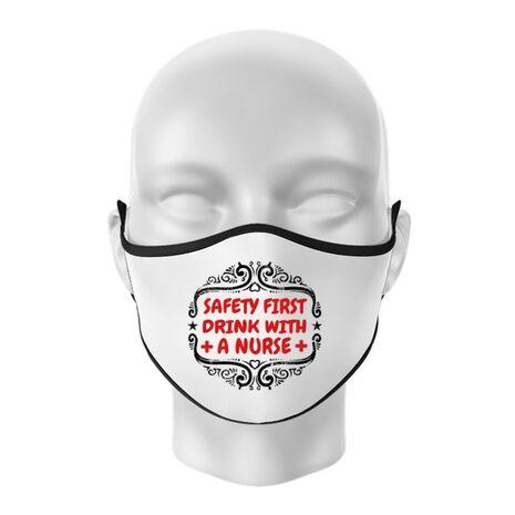 Masca personalizata reutilizabila Safety first drink with a nurse Alb