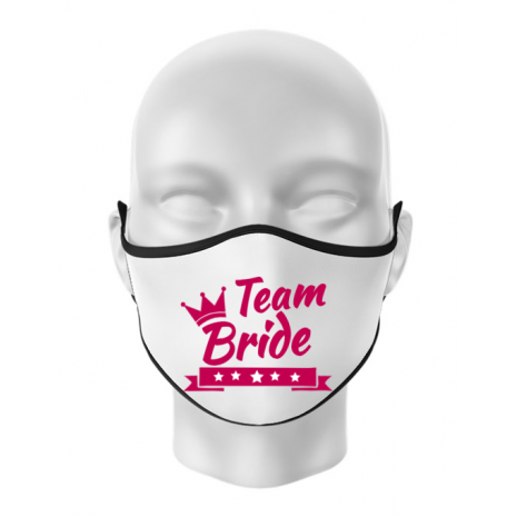 Masca personalizata reutilizabila Team Bride Alb