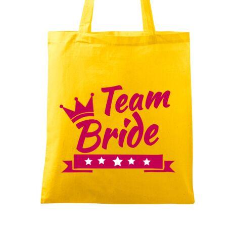Sacosa personalizata Petrecerea burlacitelor Team Bride Galben