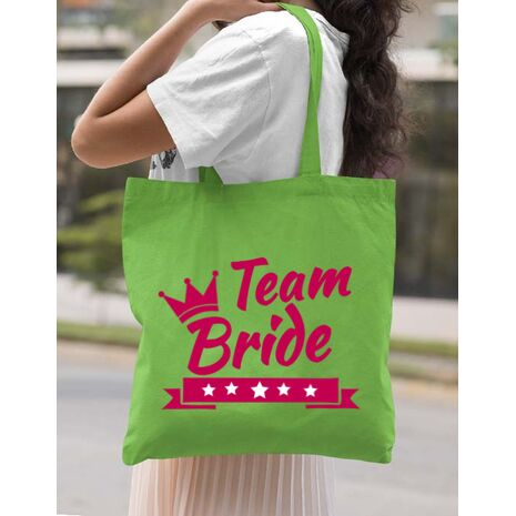 Sacosa personalizata Petrecerea burlacitelor Team Bride Verde
