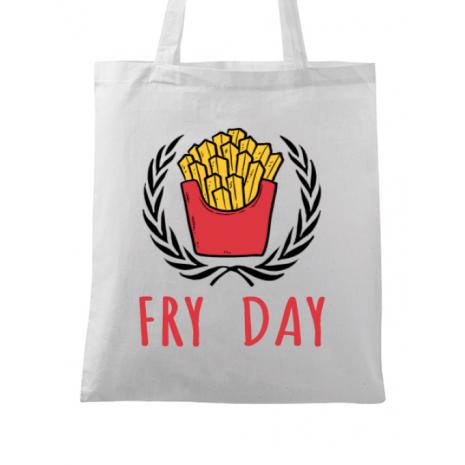 Sacosa din panza Fry Day Alb