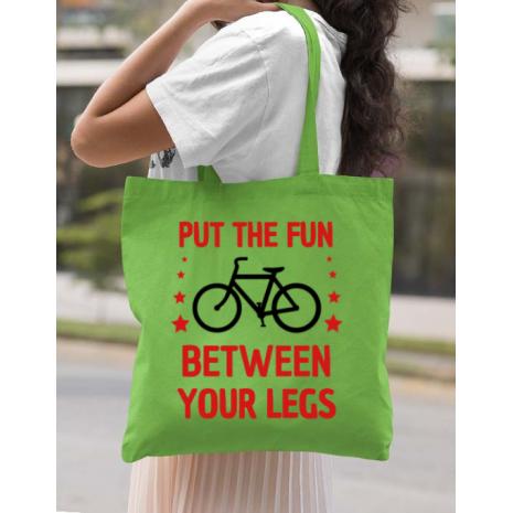 Sacosa din panza Put the fun Between your legs Verde mar