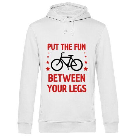 Hoodie barbat cu gluga Put the fun Between your legs Alb