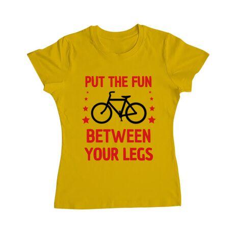 Tricou ADLER dama Put the fun Between your legs Galben